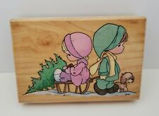 Vtg Stampendous Precious Moments Wonder Of Christmas Wood Mounted Rubber Stamp
