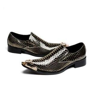 38-48 British Men Dress Formal Business Shoes Metal Pointy Toe Oxfords Slip on L