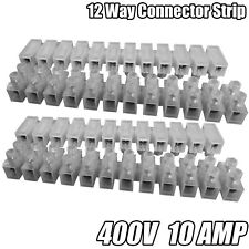 12 WAY CONNECTOR STRIP CHOC BLOCK TERMINAL 10AMP ELECTRICAL CONNECTION FLAT HEAD