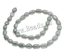 7-8mm AAA Baroque Grey Natural Cultured Freshwater Pearl Loose Beads 15.7""