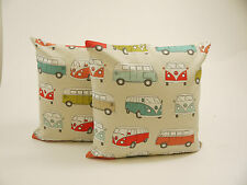 Cushions - Vintage Camper Van set of Two (2) Cotton Cushions with Quality Pads