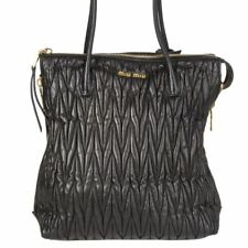 5f9d3adbcf4 56026 auth MIU MIU black Matelasse leather TRAPEZE LARGE CONVERTIBLE Tote  Bag