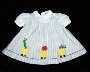 VTG Nannette Girls Size 18 Month Dress Train Zoo Safari Jungle Animals Applique