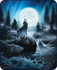 "Moon Wolf Spirits Queen Size 79"" X 96"" Soft Medium Weight Faux Fur Bed Blanket"