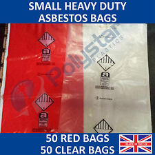 50 Red and 50 Clear Heavy Duty Asbestos Disposal Bags 600mm x 900mm