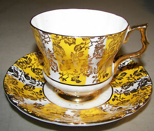 Royal Windsor Fine Bone China Footed Cup & Saucer England Yellow & Gold