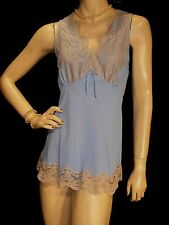 M NOS Gilead 2 piece Vintage 60s 70s BLUE NYLON BabyDoll Panties Lace Nightgown