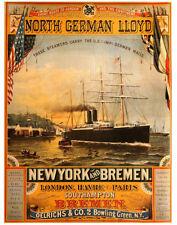 "Vintage Ship Steamer 1884 Ad Photo Print 14 x 11"""
