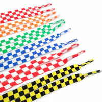1Pair Flat Grid Shoe Laces Printing Checkered Ribbons Shoelaces Sneaker Lacing