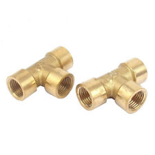 2pcs 1/4inch BSP Thread Equal 3 Way Tee Coupling Brass Pipe Adapter B2F2