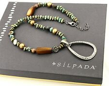 Silpada .925 Sterling Silver, Howlite, Shell & Pearl Hammered Pendant Necklace