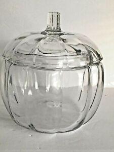 "Clear Glass Lidded Pumpkin Designed Dish Holiday Thanksgiving Trinket Storage 8"""
