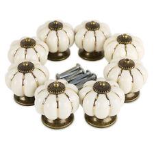 8 Pomelli Maniglia Ceramica Per Cassetto Armadio Zucca Avorio Bianco