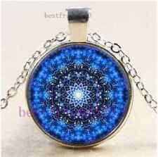 Mandala Photo Cabochon Glass Tibet Silver Chain Pendant Necklace