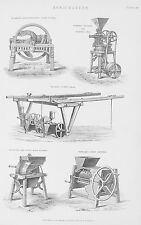 OLD ANTIQUE PRINT AGRICULTURAL FARMING MACHINERY CRUSHERS DRILLS CUTTERS c1880's