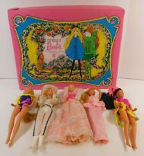 BARBIE 1970'S + 1980'S LOT W/ CASE, KISSING, WESTERN, + MORE MATTEL 5 DOLLS