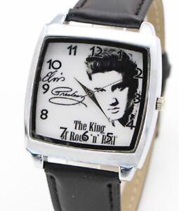 Elvis Presley Leather Strap Wristwatch Black Wrist Watch King Of Rock N Roll UK