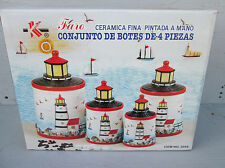 Lighthouse 4 PC Ceramic Canister Set with Seal Lid #3048