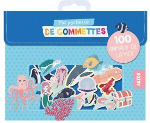 Pochette 100 gommettes repositionnables animaux de la mer enfants stickers