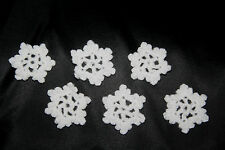 6 x HANDMADE CROCHET WHITE SMALL SNOWFLAKE CHRISTMAS DECORATIONS / APPLIQUES