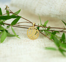 letter H initial diamond necklace solid gold 14k pendant name charm monogram art