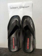 Prada Leather Men's Red Tab Flip Flop Sandals pre 1999 Vintage Rare