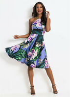 Tropical Orchid Print Stretch Jersey Fit and Flare Slim Strap Summer Dress