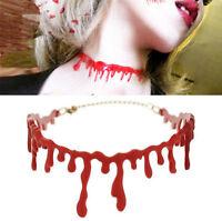Horror Blood Red Choker Necklace Halloween Frankenstein Punk Deathrock Jewelry