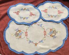 Vintage Flower Basket Hand Embroidered Linen Doilies Doiley Duchess Floral Bow