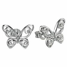 Butterfly Beauty Stud Precious Metal Earrings without Stones