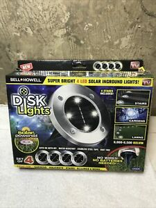 Bell Howell Solar Stainless LED Super Bright In Ground Disk lights 4 pack