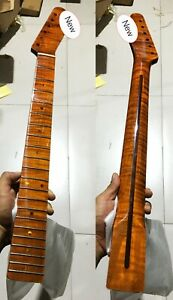 Tiger Flame Maple Guitar Neck 21Fret 25.5in Dark Yellow Pearl Dot Inlay Bolt On