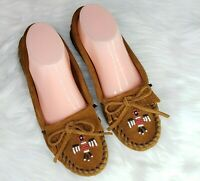 Minnetonka Moccasins Thunderbird II Kilty 602 Slip On Suede Brown Beaded Size 7
