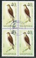 ALBANIEN 1966 Greifvögel 40 Q Sperber (Accipiter nisus) gestempelter Viererblock