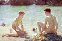 CXJPT712 two young nude naked man bathe by beach art oil painting on canvas