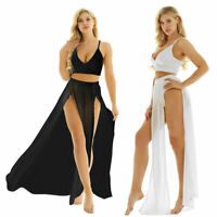 Women's Beach Dress Deep V-Neck Camisole Crop Top Side Split Chiffon Maxi Skirts