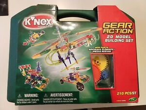 NEW K'nex 12056 Gear Action 20 Model Building Complete Set Carrying Case 210pc