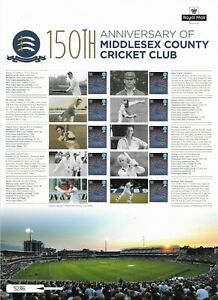 2014 GB. Middlesex County Cricket - Smiler Sheet Complete With Insert - MNH..