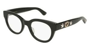 BRAND NEW GUCCI GG0209O 001 BLACK/CRYSTALS AUTHENTIC EYEGLASSES FRAME 48-21