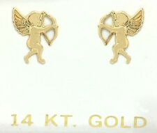 ANGEL CUPID EARRINGS SOLID 14k Yellow Gold *** Free Shipping Service ***