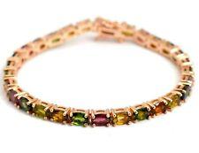 14K Solid Rose Gold Plating 15.50 CT Natural Tourmaline Gemstone Tennis Bracelet