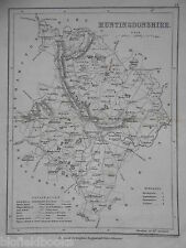 Original Antiquarian UK Map of Huntingdonshire - c1850 - Huntingdon, Dugdale's