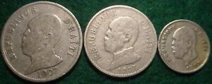 3 DIFFERENT HAITI COINS 1907 50 CENTS,1907 20 CENTS,1905 5 CENTS