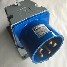 MK Commando Angled Wall Appliance Inlet 32A 3P+N+E IP44 250V LN9740BLU 9h 32Amp