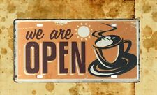 We are Open tin sign car plate bedroom wall decor nostalgic