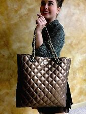 Kate Spade NY ELYSE GOLD COAST LEATHER Quilted Metallic Bronze Tote Handbag
