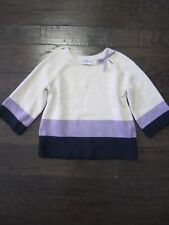 VGUC HANNA ANDERSSON Ivory Purple Striped Sweater Size 130 8 9 10