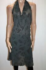 THOMPSON TBAG CLOTHING Grey Mesh Lace Paisley Halter Dress Size M #AN02