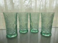 Tiara Indiana Glass 4 Spearmint Green Ponderosa Pine 18 ounce Ice Tea Tumblers