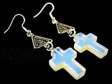 1 Pair of Opalite Gemstone Cross Dangle Earrings #1760